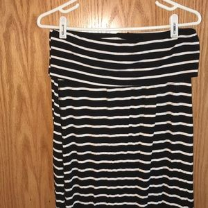 Women's black and white striped maxi skirt